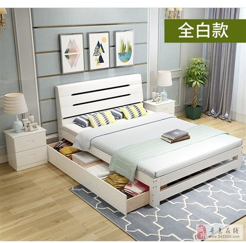 实木床1米现代简约单人床松木床送椰宗床垫