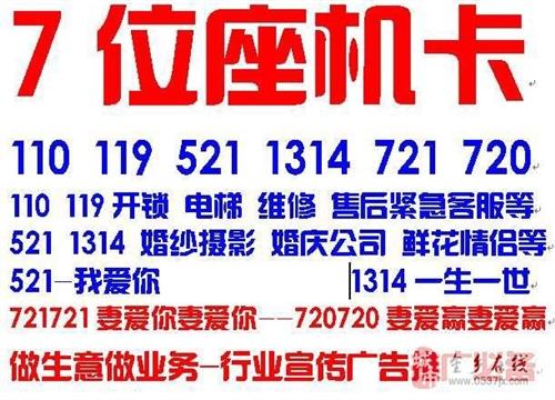 济宁12县区通用7位无线座机卡豹子三连4连豹子