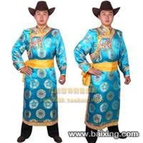 高级男蒙古袍服装.靴子.金属牛皮宽腰带.9.9成新