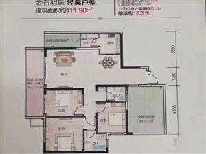 金石明珠3室2厅2卫45万元赠送花园