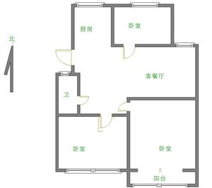 燕京花园3室2厅1卫68万元