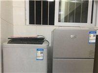 9成新洗衣机+冰箱+1.8m双人弹簧床+办公桌