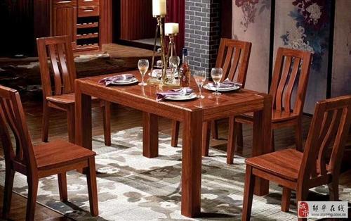 全新纯实木红翅木餐桌餐椅处理
