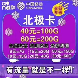 升级移动北极卡八种套餐如下:?8元7G流量 10元15G流量 15元20G流量 20元40G流...