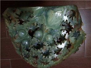 岫岩玉,镂空雕金鱼,老玉,80年代玉雕大师雕刻