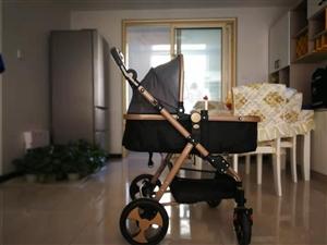 九成新高景观婴儿车 可坐可躺可折叠,  小孩回老家基本没用,蚊帐凉席都有