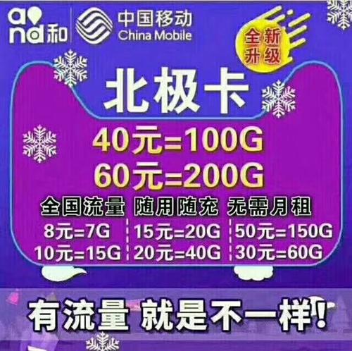 新到電信移動北極卡五種套餐如下: 8元7G流量 10元15G流量 15元20G流量 20元4...