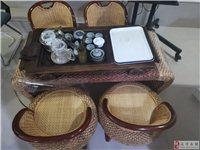 藤艺茶台加四把椅子,加一套茶具全部出售,产品以图为例