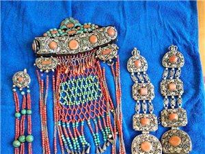 清代蒙古国天然珊瑚绿松石头饰