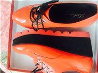 全新橙色漆皮松糕鞋
