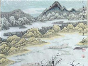 汤希忠国画作品《青土湖高秋》