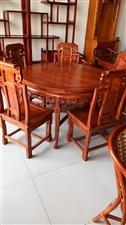 老榆木餐桌,带六把餐椅