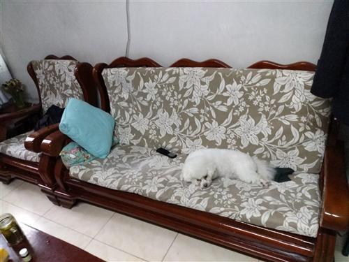 雙人床2米×1.5米,沙發一個三人、兩個單人、有海綿坐墊,茶幾一個,衣櫥三組,梳妝臺一個。半成新。聯...