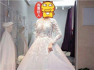 结婚定制的婚纱,长拖尾