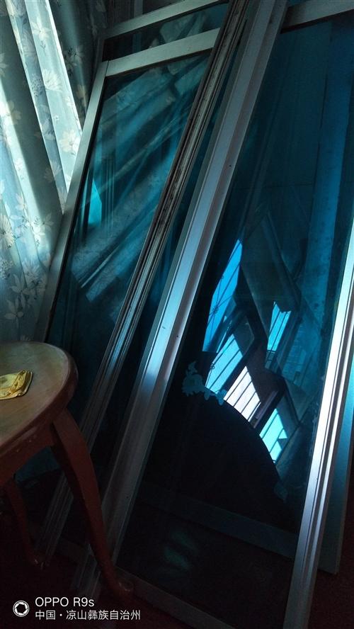 铝合金玻璃门5扇 200*135两扇 200*84三扇蓝色