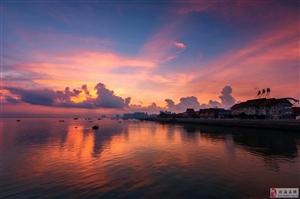 广西北海日出和夜景