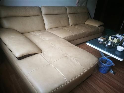 顧家家居的皮沙發,購入四年,放置兩年,使用一年半,原價一萬二,右手臥榻,品相良好,無刮擦,帶沙發罩一...