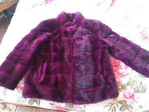 出售八分袖短款貂皮,紫色。
