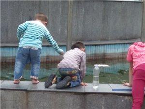 小孩在水池�玩耍,大人在跳舞