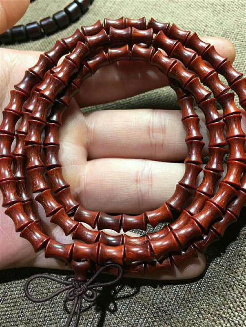 高密小叶紫檀108竹节项链手链