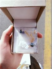 大溪地18k黑珍珠  送925银链  送耳钉   买了两周着急用钱转让   正圆黑珍珠 10到13...