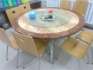 批量处理餐桌:圆桌(带转盘)3个,方桌8个,餐椅60把,九成新,可家用,量大从优,价格面议。