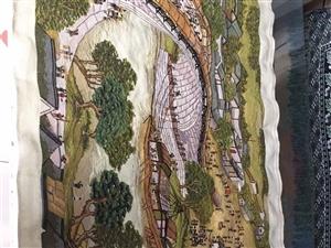 出售清明上河图十字绣一副长1.8米宽0.9米做工精细自己绣了一年电话13730389682