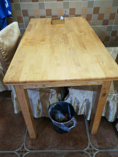 饭店用实木餐桌四张,加条凳用了一年,有需要的电话联系