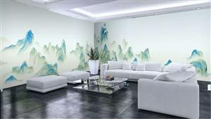 新中式水墨山水千里江山图背景墙电视墙整张无缝壁画