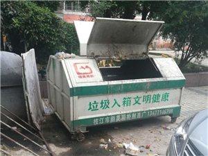 垃圾箱脏水乱流,臭气熏天