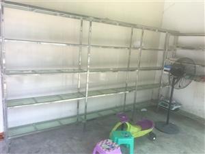 不锈钢货架出售,格子全透明玻璃