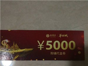 因个人原因,华安城商铺代金券5000元出售,价格面议