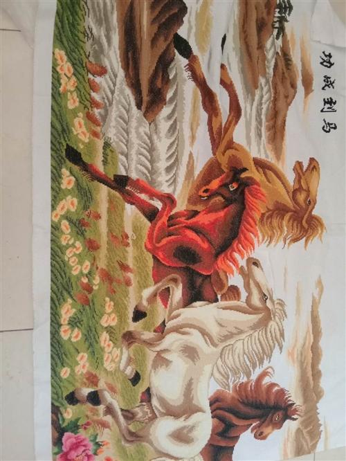 本人有八匹骏马图十字绣想出售,220.8014秀完成的,现在出售,需要的联系