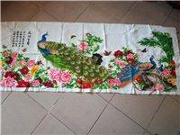 这幅十字绣一针一线绣的,纯正手工十字绣,2米X90,牡丹孔雀,花开富贵,