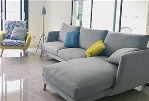 全新沙发仅拆包装组装,三人+妃位+单人沙发 ,全套出