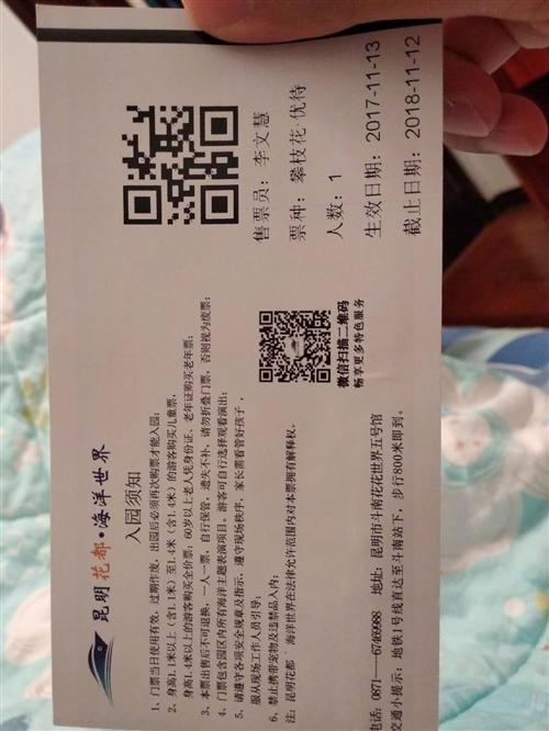 出售昆明花都海洋館攀枝花優待票一張,原價100元,現40元甩賣了,只能老人和兒童用,必須是攀枝花客戶...