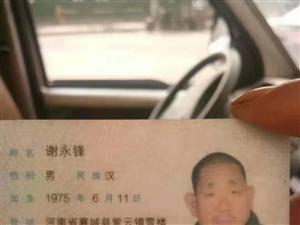 寻人启事:谢永锋于11月10日早上在马园菜市场走失