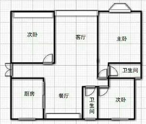 新城区毛坯3室 2厅 2卫68万元