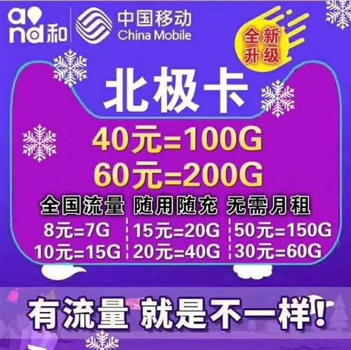新到電信移動北極卡五種套餐如下 8元7G流量 10元15G流量 15元20G流量 20元40...