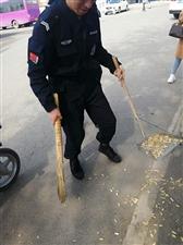 特警队员帮老人打扫卫生,群众围观。