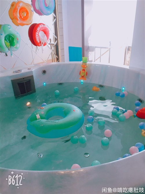 婴幼儿游泳馆不干了,2米直径带冲浪的大游泳池1个,带锅炉,黄色小游泳池一个,洗澡池1个,泳圈若干,按...