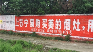 贡井苏宁直营店私自乱打墙体广告