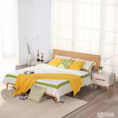 全新未拆封1.5米實木床 原價2999  現在1999 1.5*2.0米 乳膠床墊   原價299...