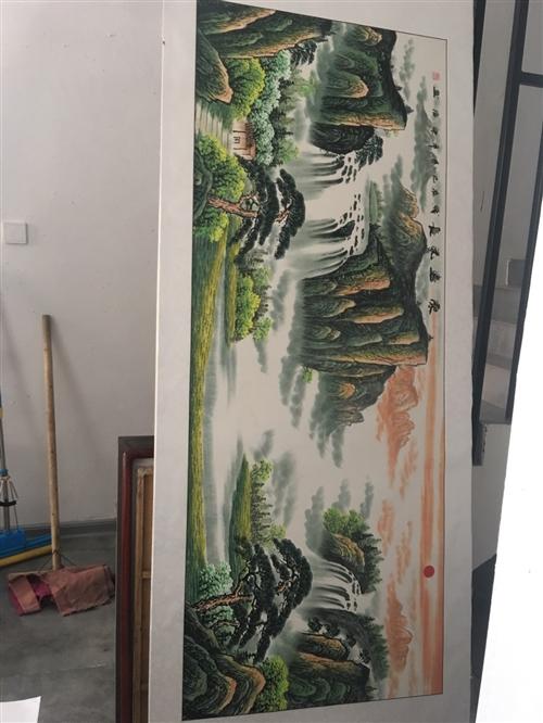 纯手绘山水画 尺寸:220x85cm