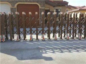 专业品牌电动伸缩门铝艺门,车牌识别各类护栏销售安装