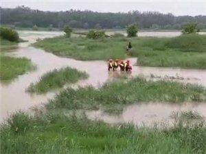 汉中:两人被困河中小岛特勤中队紧急救援