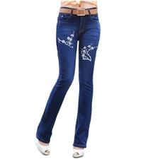 订购:手绘印花(梅花,玫瑰)女式深蓝弹力修身牛仔裤。冬季加绒或春季单裤两种。不褪色。128元/条,批...